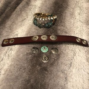 Leather Snap And Cross Bracelets